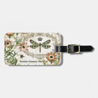 Modern Vintage French Dragonfly Luggage Tag