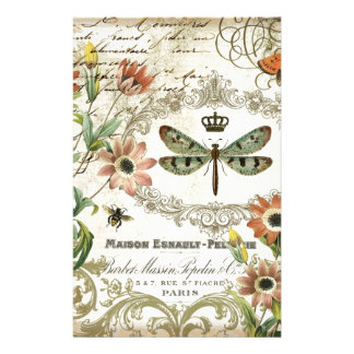 Modern Vintage French Dragonfly Personalized Stationery
