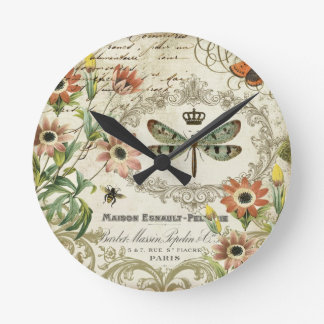 Modern Vintage French Dragonfly Round Clock