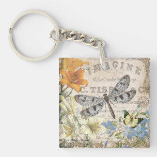 modern vintage french dragonfly Single-Sided square acrylic key ring