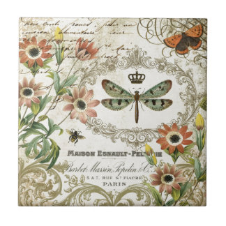 Modern Vintage French Dragonfly Tile