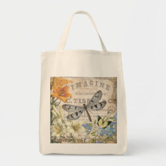 modern vintage french dragonfly tote bag