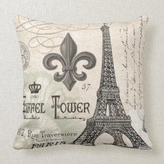 modern vintage french Eiffel Tower Cushion