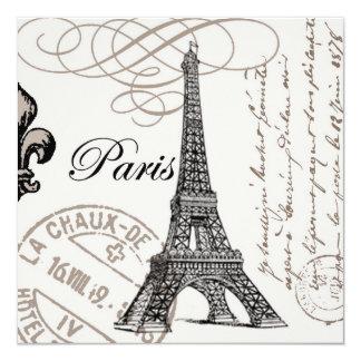 modern vintage french Eiffel Tower 13 Cm X 13 Cm Square Invitation Card