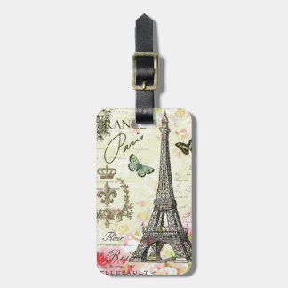 modern vintage french eiffel tower luggage tag