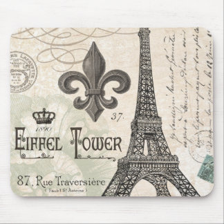 modern vintage french Eiffel Tower Mouse Mat