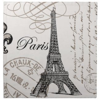 modern vintage french Eiffel Tower Napkin