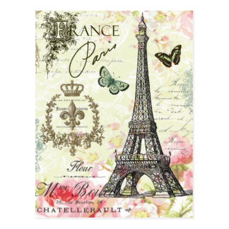 modern vintage french eiffel tower postcard