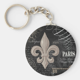 modern vintage french fleur de lis basic round button key ring
