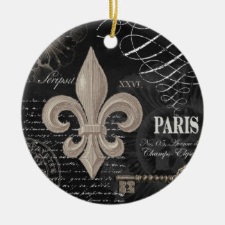 modern vintage french fleur de lis christmas ornament