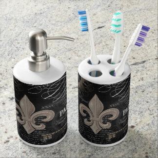 modern vintage french fleur de lis toothbrush holders