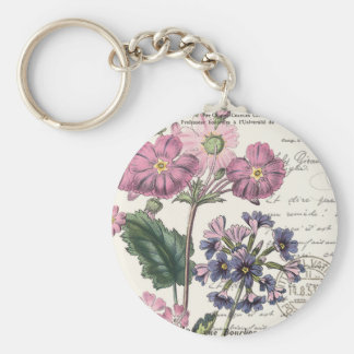 modern vintage french floral key chain