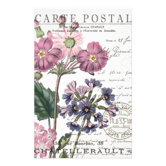 modern vintage french floral stationery