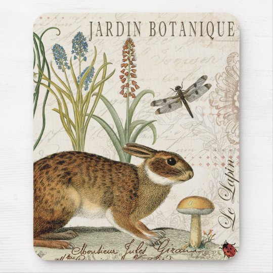 Modern Vintage French Garden rabbit Mouse Mat