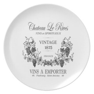 modern vintage french grain sac wine party plates