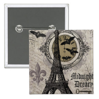 modern vintage french halloween Eiffel tower 15 Cm Square Badge