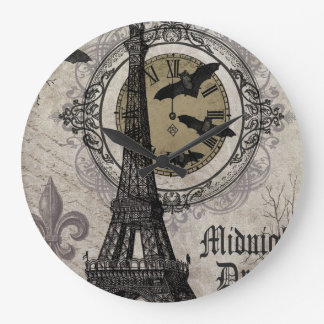 modern vintage french halloween Eiffel tower Large Clock