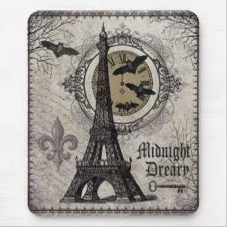 modern vintage french halloween Eiffel tower Mousepads