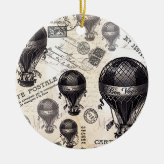 modern vintage French hot air balloons Christmas Ornament