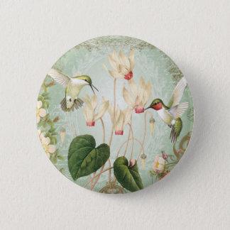 Modern Vintage French Hummingbirds 6 Cm Round Badge