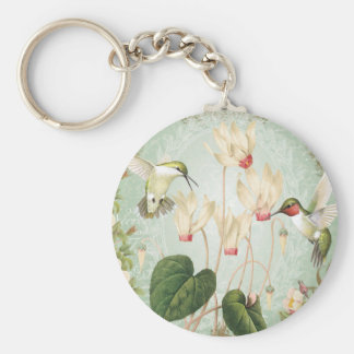Modern Vintage French Hummingbirds Basic Round Button Key Ring