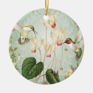 Modern Vintage French Hummingbirds Christmas Ornament
