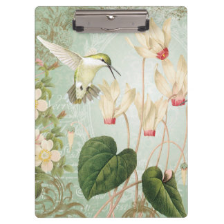 Modern Vintage French Hummingbirds Clipboard