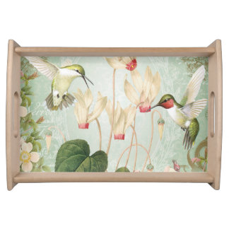 Modern Vintage French Hummingbirds Serving Tray