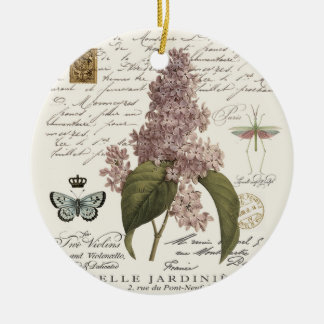 modern vintage French Lilacs Christmas Ornament