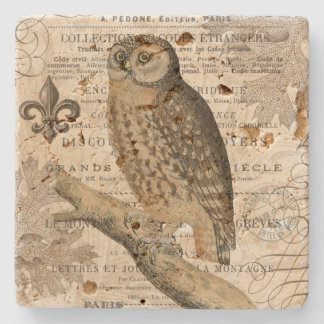 modern vintage french owl stone coaster
