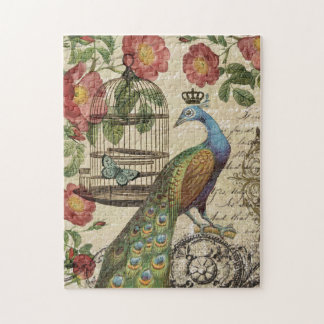 modern vintage french peacock jigsaw puzzle