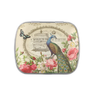 modern vintage French peacock mint tin can Candy Tins