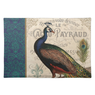 modern vintage french peacock placemat