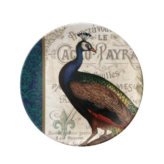 modern vintage french peacock plate