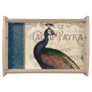modern vintage french peacock serving tray