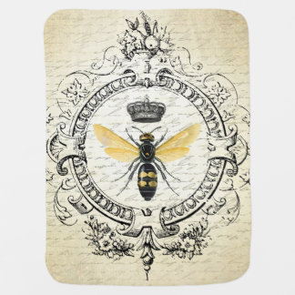 modern vintage french queen bee baby blanket