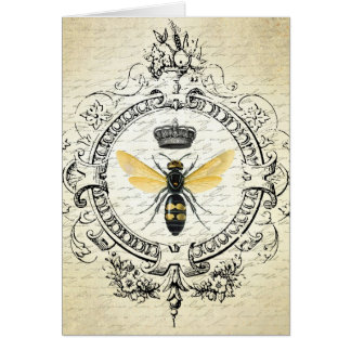 modern vintage french queen bee greeting card