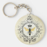 MODERN VINTAGE french queen bee Basic Round Button Key Ring