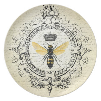 modern vintage french queen bee plate