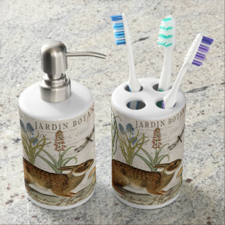 modern vintage french rabbit in the garden bath accessory set