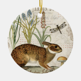 modern vintage french rabbit in the garden christmas ornament
