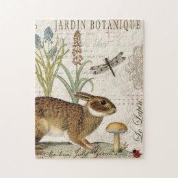 modern vintage french rabbit in the garden jigsaw puzzle
