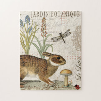 modern vintage french rabbit in the garden puzzle