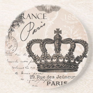 modern vintage french shabby chic crown beverage coasters