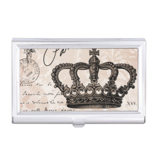 modern vintage french shabby chic crown business card cases