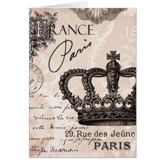 modern vintage french shabby chic crown card