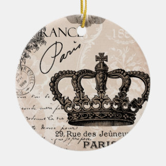 modern vintage french shabby chic crown christmas ornament