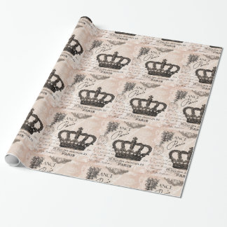 modern vintage french shabby chic crown wrapping paper