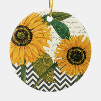 modern vintage french sunflower christmas ornament