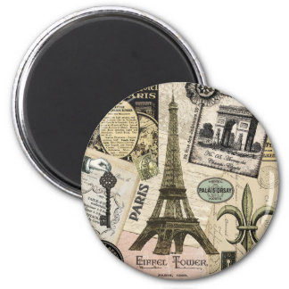 Modern Vintage French travel collage 6 Cm Round Magnet